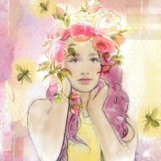 Create Digital Art on the iPad. A little walkthru my process. #art #digital #ipad #girl #portrait #vintage #bees