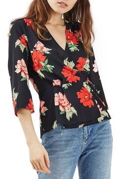 Topshop Rita Floral Wrap Top available at #Nordstrom
