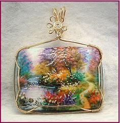 Handpainted landscape designer pendant wire wrapped in Gold