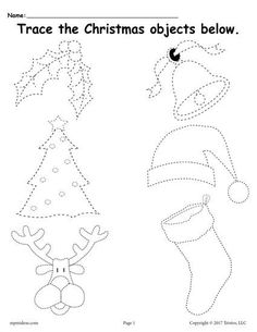 FREE Printable Christmas Tracing Worksheet! Tracing worksheets like this are great for tracing practice, improving fine motor skills, and more! Get the free preschool tracing worksheet here --> https://www.mpmschoolsupplies.com/ideas/7870/free-printable-christmas-tracing-worksheet/