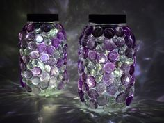 These gem jars look amazing with the lights on and off!  Use Aleene's Glass & Bead glue to get the look. We added solar light lids to the top to keep the jars bright at night.