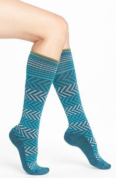 Sockwell 'Circulator Chevron' Compression Socks available at Varicose Veins, High Knees, Leg Warmers, Chevron, Nordstrom, Socks, Clothes For Women, How To Wear, Knee Highs