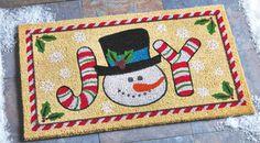 Festive Snowman Joy Coco Holiday Mat