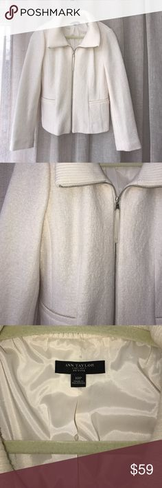 Ann Taylor Cream Jacket This chic jacket is a perfect addition to your closet! Ann Taylor Jackets & Coats