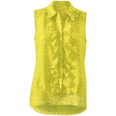 Reign Blouse cabi found on Polyvore featuring tops, blouses, ruffle top, yellow ruffle blouse, flutter top, ruffle blouse and yellow ruffle top