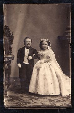 Sherwood Stratton and Lavinia Warren on their wedding day, February 1863, photographer Mathew Brady