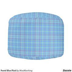Pastel Blue Plaid Pouf