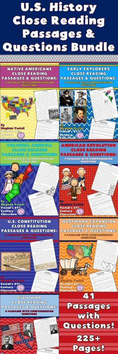 U.S. History Part 1 Close Reading Passages & Questions is a great resource for integrating U.S. History and literacy skills! U.S. History Part 1 Close Reading Passages & Questions spans Native Americans to the end of the Civil War. This bundle includes 41 passages and more 225 pages! Each passage is 2-4 pages (double-spaced) and comes with 5-9 short response questions. An answer key is included with each passage.