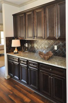 dark cabinets and floor