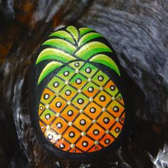 Pineapple Stone / pineapple Painted Rock / by ArtToHaveAndToHold