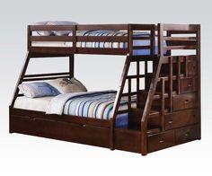 "37015 Twin/Full bunk bed DIMENSION: 98"" x 56"" x 65""H FEATURE: espresso finish"