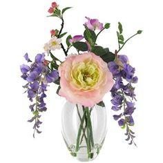 "16 1/2"" Purple & Pink Rose, Sweet Pea & Wisteria Arrangement in Glass Vase   Shop Hobby Lobby. $24"