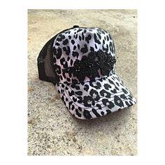 Black and white leopard print trucker hat with beaded embellishment Custom Made Hats, White Leopard, Beanie, Black And White, Etsy, Fashion, Moda, Black N White, Fashion Styles