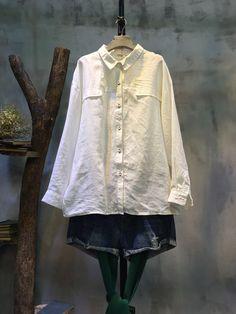 Simple Design Slim Fit Linen Blouse Korean Casual Wear  #Korean #white #blouse #top #shirt #casualwear #linen #flax