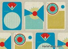 Retro Ruby Star Rising Transistor Radios in Blue Cotton Linen Fabric by Melody Miller for KOKKA