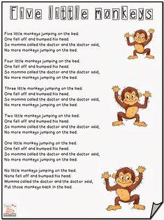 PEQUEÑOS RECURSOS INFANTILES: Canciones en ingles. Five little monkeys jumping on the bed