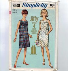 1960s Vintage Sewing Pattern Simplicity 6531 Easy Jiffy Yoked Jumper Sleeveless Dress Size 16 Bust 36 1966 60s B36. $6.00, via Etsy.