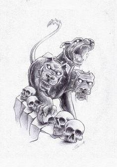 Cerberus Greek Mythology line art - Bing images