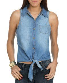 Tie Front Denim Shirt - Shirts & Blouses