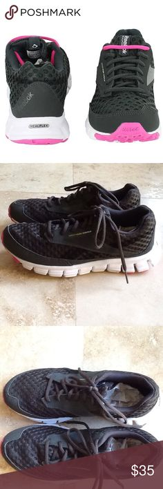 Reebok Cross Trainers ...Smoothflex Crushrin Smoothflex Cushrun ....black mesh. Pink accents on soles. Lightly worn. In excellent used condition. Reebok Shoes Sandals