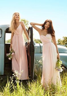 Blush and Rose chiffon over Ivory lining strapless A-line bridesmaid gown, sweetheart draped bodice, natural waist with gathered skirt | Jim Hjelm Occasions | https://www.theknot.com/fashion/5563-jim-hjelm-occasions-bridesmaid-dress.  Love chiffon