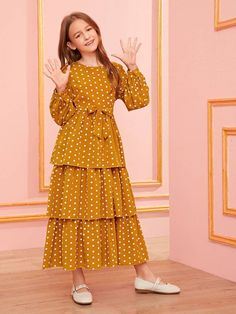 Girls Polka Dot Layered Ruffle Hem Belted Dress – Kidenhouse The clothing culture is quite old. Girls Casual Dresses, Little Girl Dresses, Stylish Dresses, Long Frocks For Girls, Girls Designer Dresses, Country Dresses, Dresses Dresses, Dance Dresses, Dress Outfits