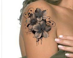 Tätowierung Schulter Blume Ultra dünnen von UnrealInkShop auf Etsy