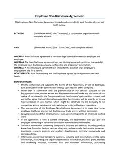 Employee Confidentiality AgreementNon Disclosure Agreement