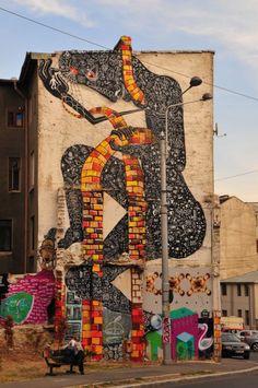 Street art in Bucharest, Romania, by Bucharest-based artist Obie Platon. Urban Street Art, Best Street Art, Urban Art, Street Installation, Artistic Installation, Graffiti Tagging, Art Mural, Street Art Graffiti, Fantastic Art