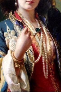 Portrait of Katarzyna Potocka née Branicka in oriental costume (detail), 1854 by Franz Xaver Winterhalter (1805–1873) ⍢