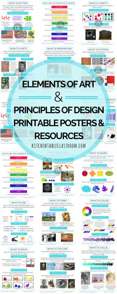 Printable resources to make teaching the elements of art and the principles of design easy and fun. Printable posters, books, worksheets, puzzles, and more to keep your students engaged and using art vocabulary!
