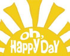 Nursery Art Print, Oh Happy Day Yellow Sun Kids Wall Art, Cheerful Nursery Decor 8x10 Nursery Wall Sign, Primary Colors Nursery Decor