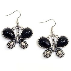 Black and Silver Tone Butterfly Shaped Earrings