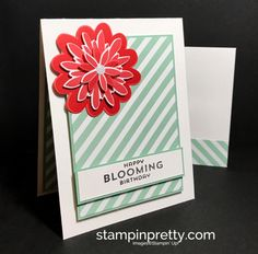 Flower Patch stamp set & Flower Fair Thinlits Dies birthday card.  Mary Fish, Stampin' Up! Demonstrator.  1000+ StampinUp & SUO card ideas.  Read more https://stampinpretty.com/2017/04/a-fond-farewell-to-retiring-flower-flair-dies.html