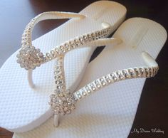 64a316270f4ae Items similar to Ivory bridal Flip Flops. CZ crystal center button wedding  flip flops. . Ivory Double row of crystals mdw-0010 ivory on Etsy