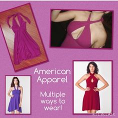 Amer Apparel convertible dress - raspberry color An American Apparel staple for years, no longer being made. Cotton / spandex bandeau dress than can be worn many different ways.  Comfy and looks great on!  Though pre-loved, this dress is in good condition!  bundle discounts available, just ask. please note shipping on this item may be delayed. American Apparel Dresses