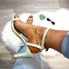 Green heels, chain sandals, green sandals, green heels, summer heels, gold chain heels