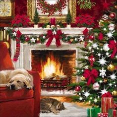 Sleeping by the warm fireplace ♥
