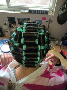Just another normal Saturday morning in the life of a sissified hubbette. His Pretty hair set on rollers then dressed to do his chores! Sleep In Hair Rollers, Hair Curlers Rollers, Pretty Hairstyles, Bob Hairstyles, Curly Short, Perm Rods, Bobe, Hair Setting, Roller Set