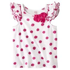Cherokee® Infant Toddler Girls Ruffle Sleeve Dot Tee - Pink.Opens in a new window