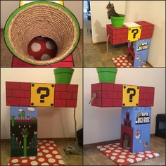 Luigi themed Super Mario cat house / tree