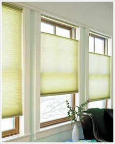 Honeycomb shades insulate your windows. The top-down bottom-up feature allows for privacy and light at the same time!