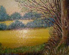 """""""Fields of Gold"""" by Nuala Holloway - Oil on Board www.nualaholloway.com #Artist #NualaHolloway #Landscape"""