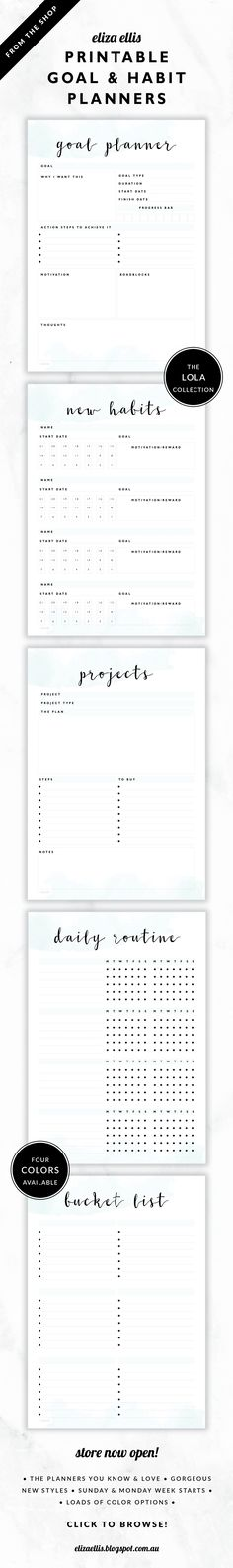 Goal Planner, Habit Tracker, Project Planner, Daily Routine and Bucket List // The Lola Collection by Eliza Ellis. Delicate watercolor design with pretty hand drawn calligraphy font. Available in 4 colors – lilac, viola, snowdrop and peony. Documents print to A4 or A5. Monday and Sunday week starts included.
