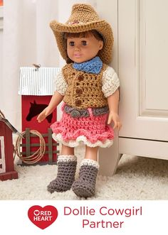 """Dollie Cowgirl Partner Free Crochet Pattern in Red Heart Yarns -- Young girls who love horses or dream of being a country western star will enjoy this outfit for their 18"""" doll. Crochet hat, boots, vest, skirt and kerchief."""