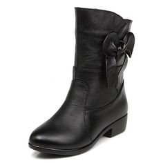 WeiPoot Ladys Closed Pointed Toe Low Heel Cow Leather Solid Boots with Bowknot ** Don't get left behind, see this great boots : Work boots