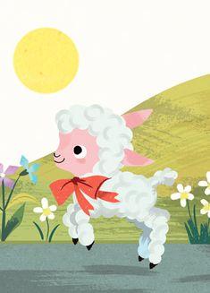 Mary & the little lamb - Lucia Gaggiotti Lamb, Illustrations, Graphic Design, Illustration, Visual Communication, Baby Sheep, Illustrators