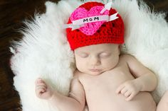 GIRLY I love Mom Biker  hat Red hat Pink heart and by thebabypea, $21.00
