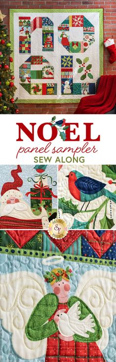 "Give yourself an early Christmas present with the Noel Panel Sampler Sew Along Quilt, designed by Nancy Halvorsen.  Beginning October 17, 2020, you'll be able to join Jen weekly to make this adorable quilt using panels in a creative way along with fun piecing in just 4-weeks!   Quilt finishes to approximately 68"" x 68"".  The Noel Panel Sampler Sew Along Includes: Pattern All Fabrics for Top, including Borders and Binding. FREE Domestic shipping!"