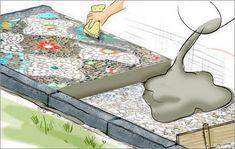 Mosaik, Muster putzen, Fugen glätten Mosaic, clean the pattern, smooth the joints Garden Pool, Indoor Garden, Garden Paths, Garden Art, Hydrangea Care, Pallets Garden, Small Gardens, Winter Garden, Garden Planning